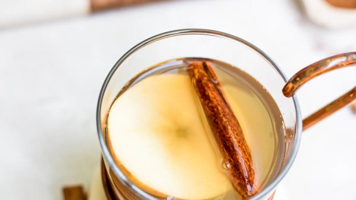 close up homemade apple cider in mug with garnishes