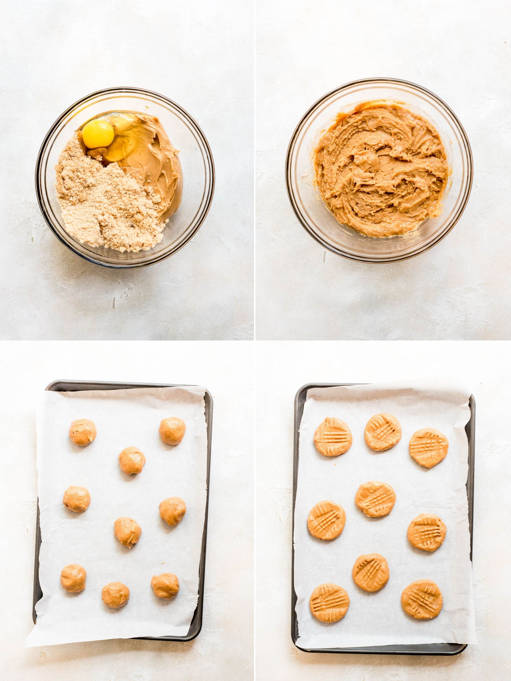 collage of step by step photos for making three ingredient peanut butter cookies