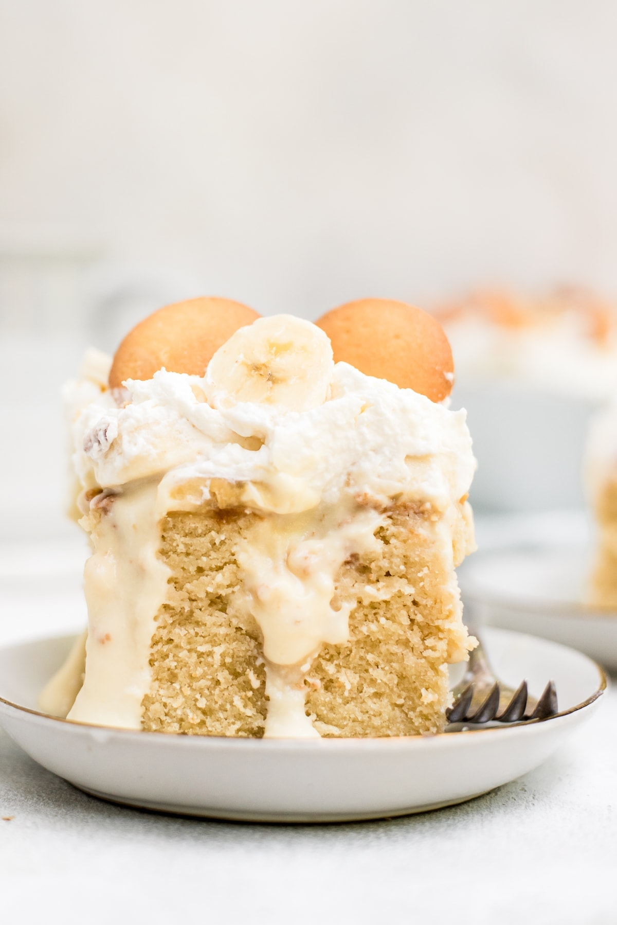 close up detail photo of banana pudding cake