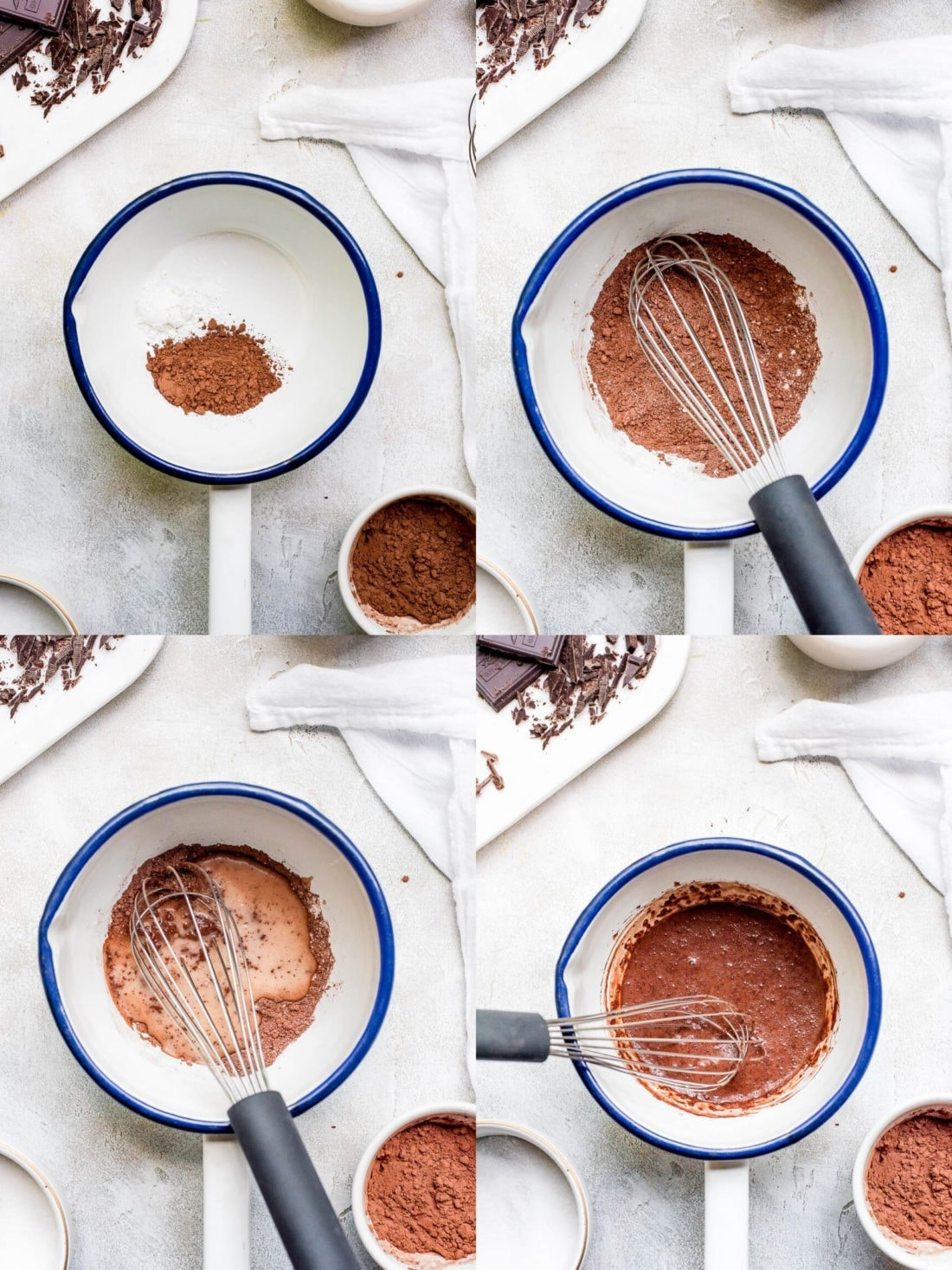 process shot collage showing how to make hot chocolate