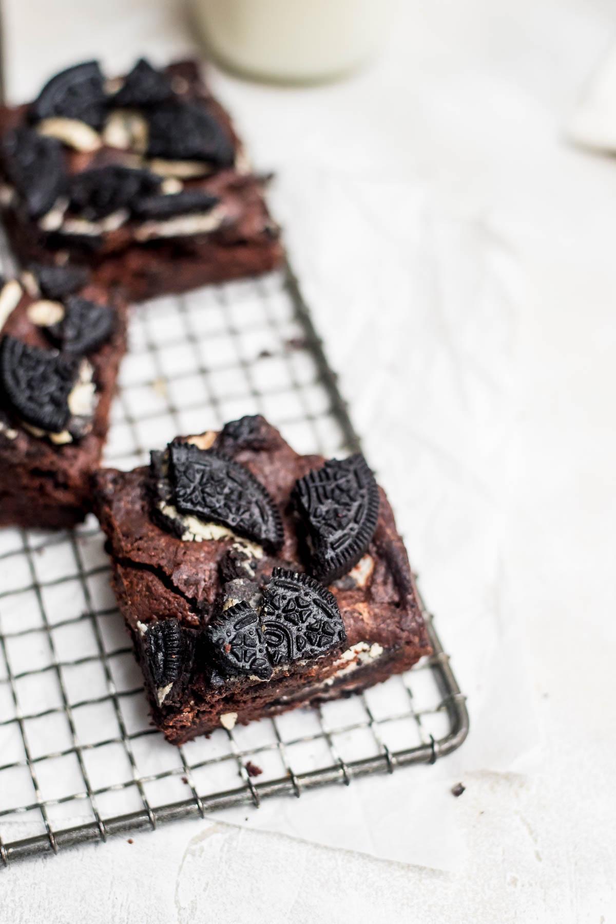 brownies on wire rack