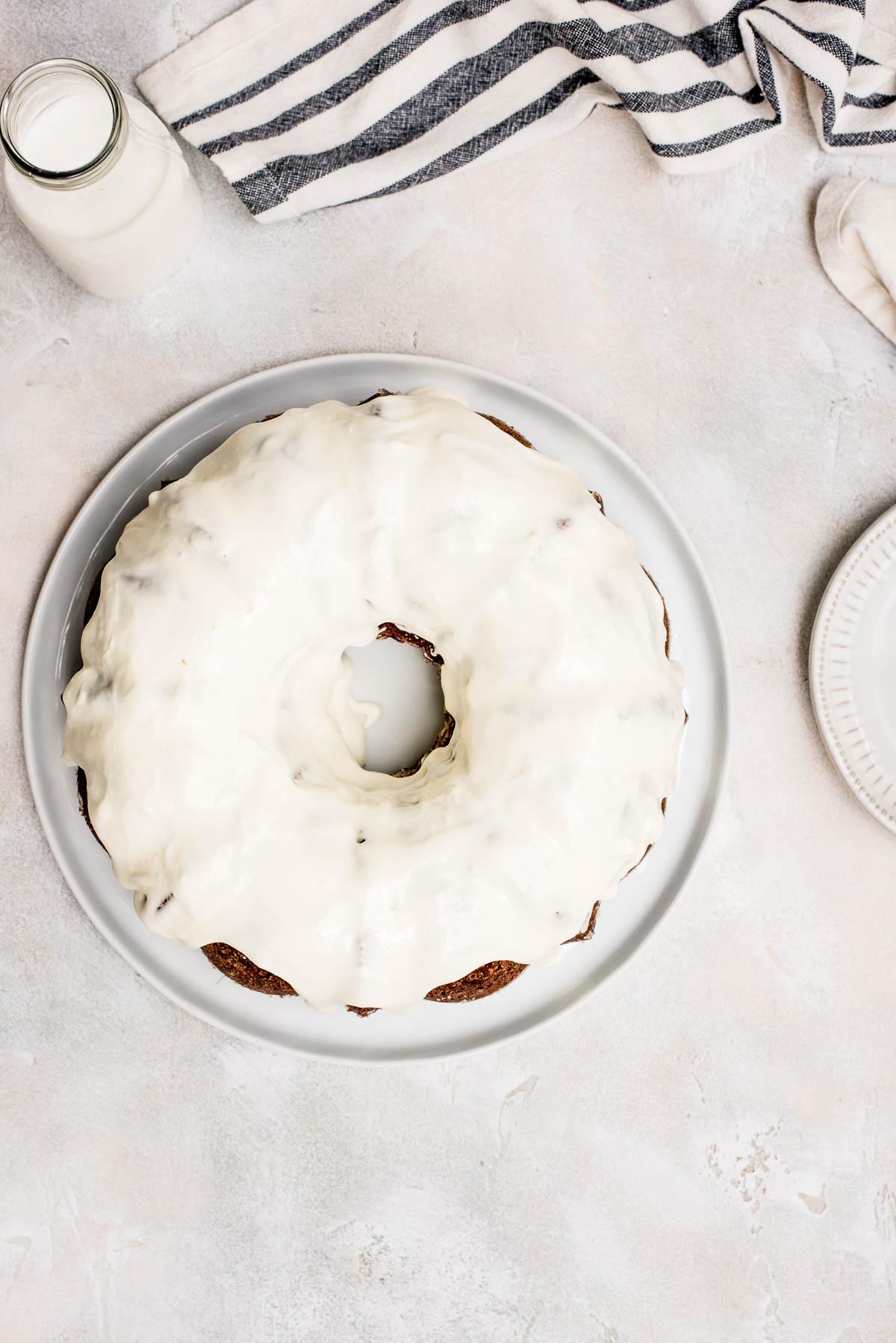 overhead red velvet bundt cake with cream cheese icing