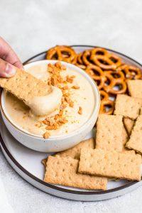 close up dip on graham cracker