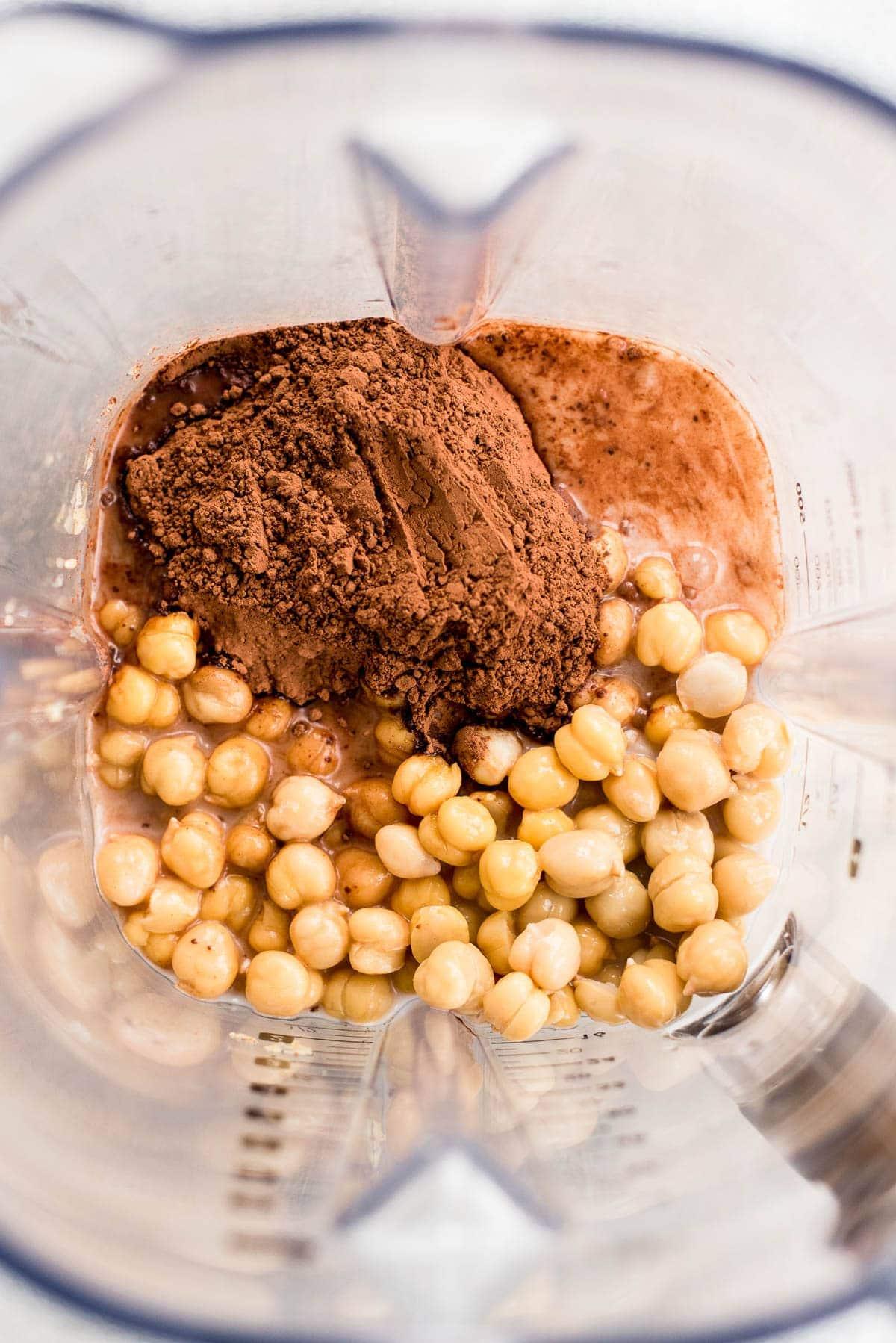 ingredients for chocolate hummus in blender