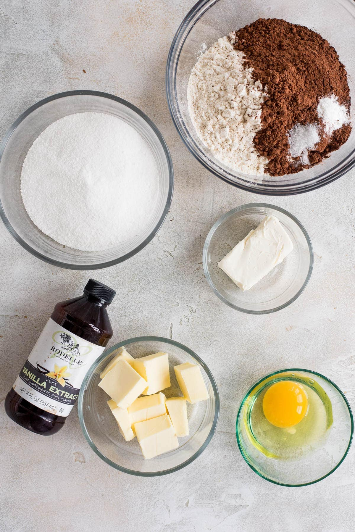 ingredients for chocolate sugar cookies