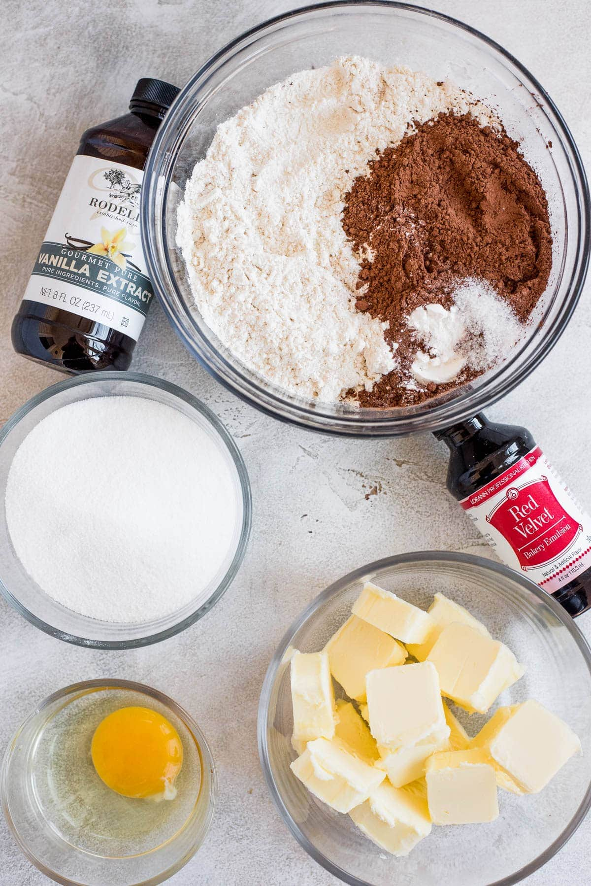 ingredients for red velvet thumbprint cookies