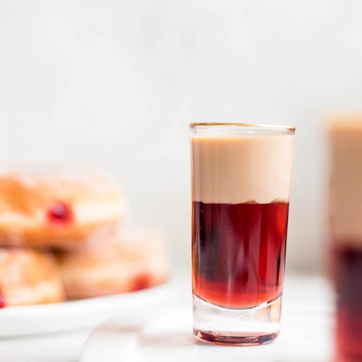 close up of jelly donut shot