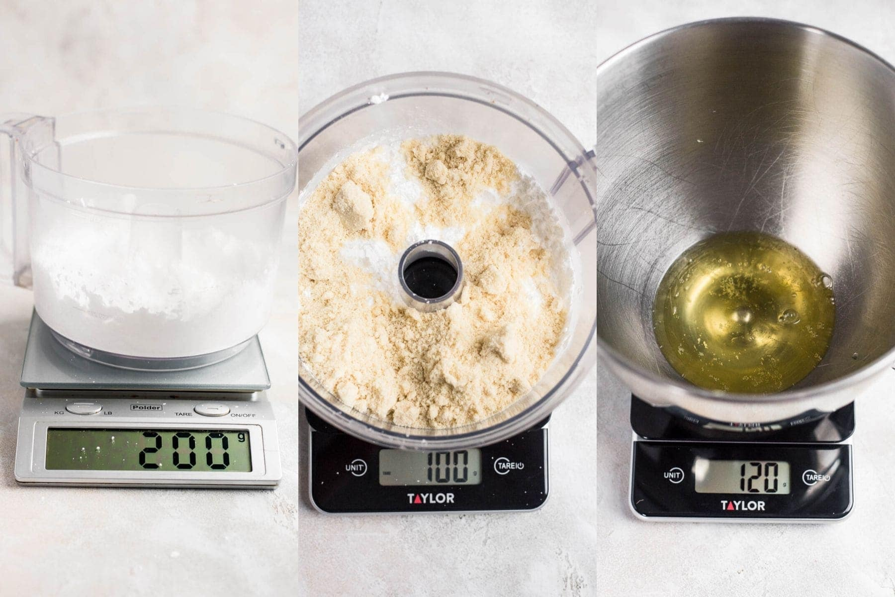 ingredients weighed for macarons