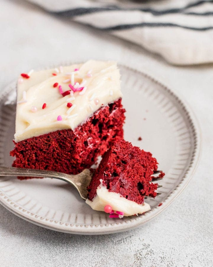 forkful of red velvet sheet cake