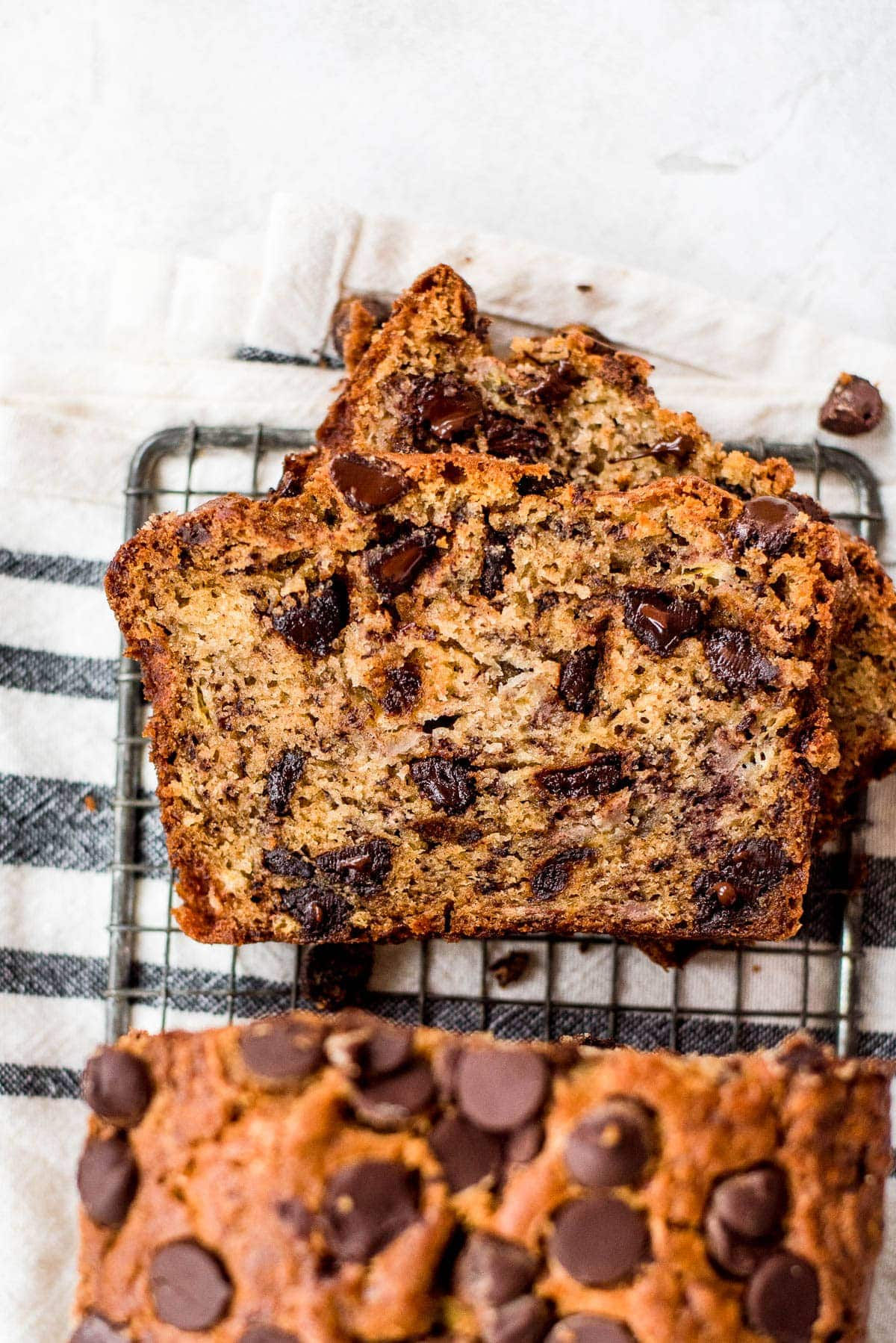 close up of slices of chocolate chip banana bread