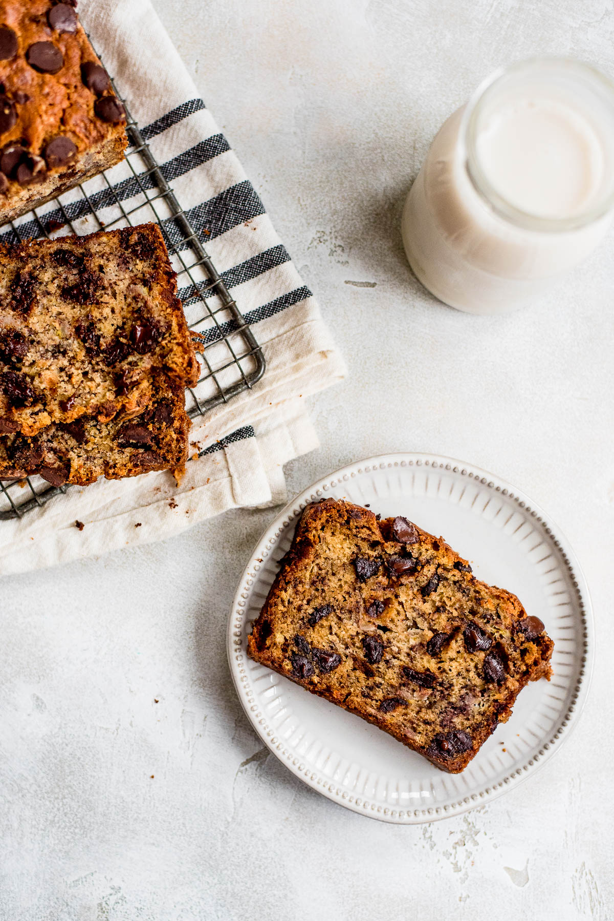 plate of banana bread with chocolate chips