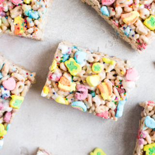 lucky charms treats cut and scattered on table