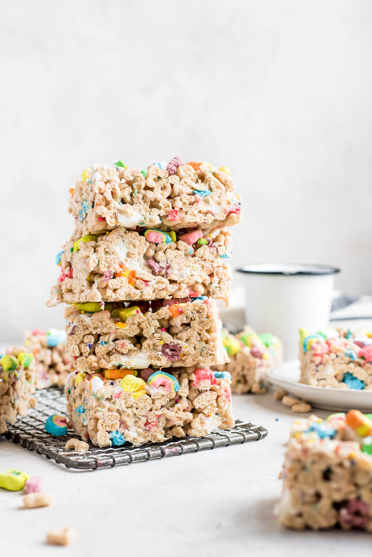 stacked lucky charms bars on wire rack