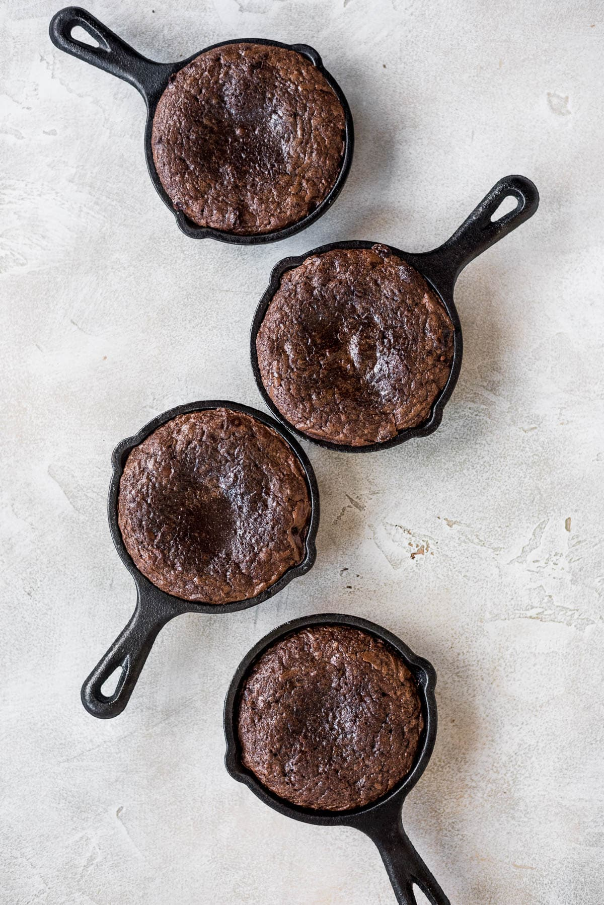 mini brownies in cast iron skillets