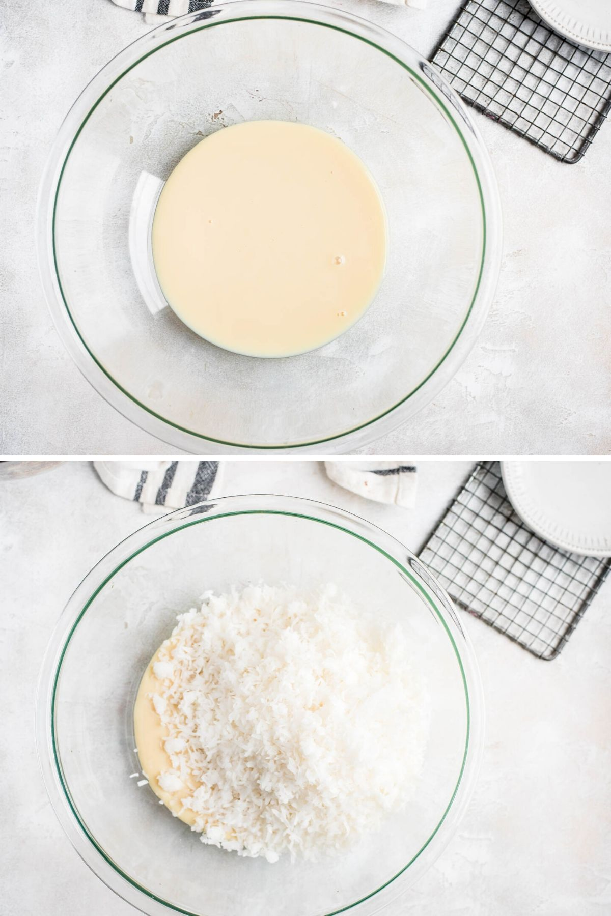 Mixing ingredients into sweetened condensed milk