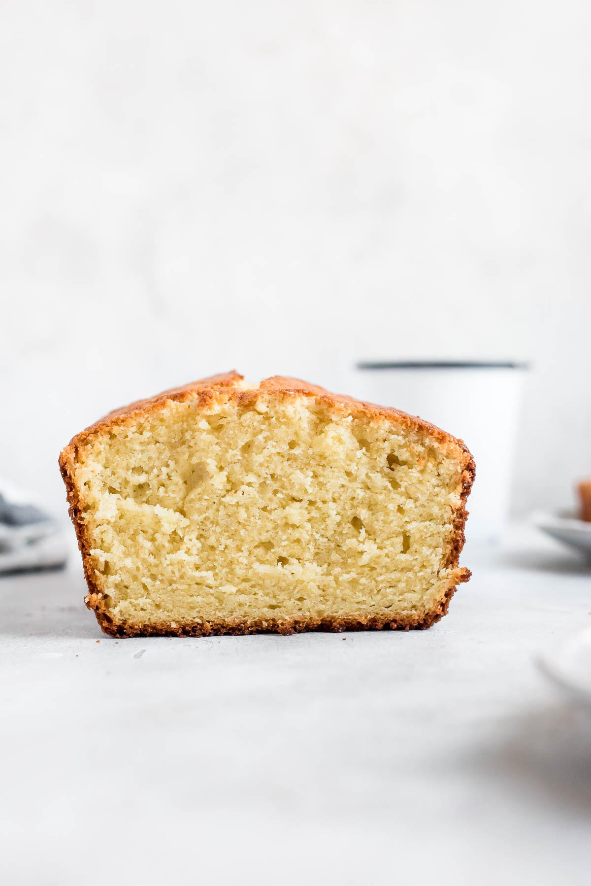 close up sliced vanilla cake loaf