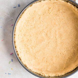 oreo cheesecake crust pressed into springform pan