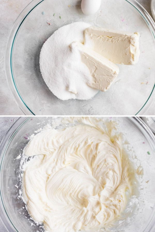 mixing cream cheese and sugar together for cheesecake batter