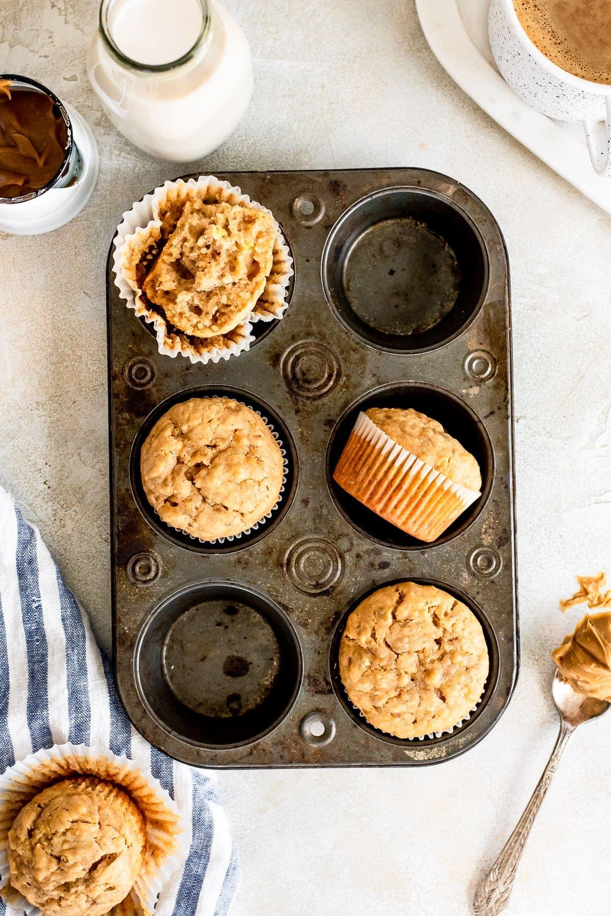 peanut butter banana muffins in muffin tin