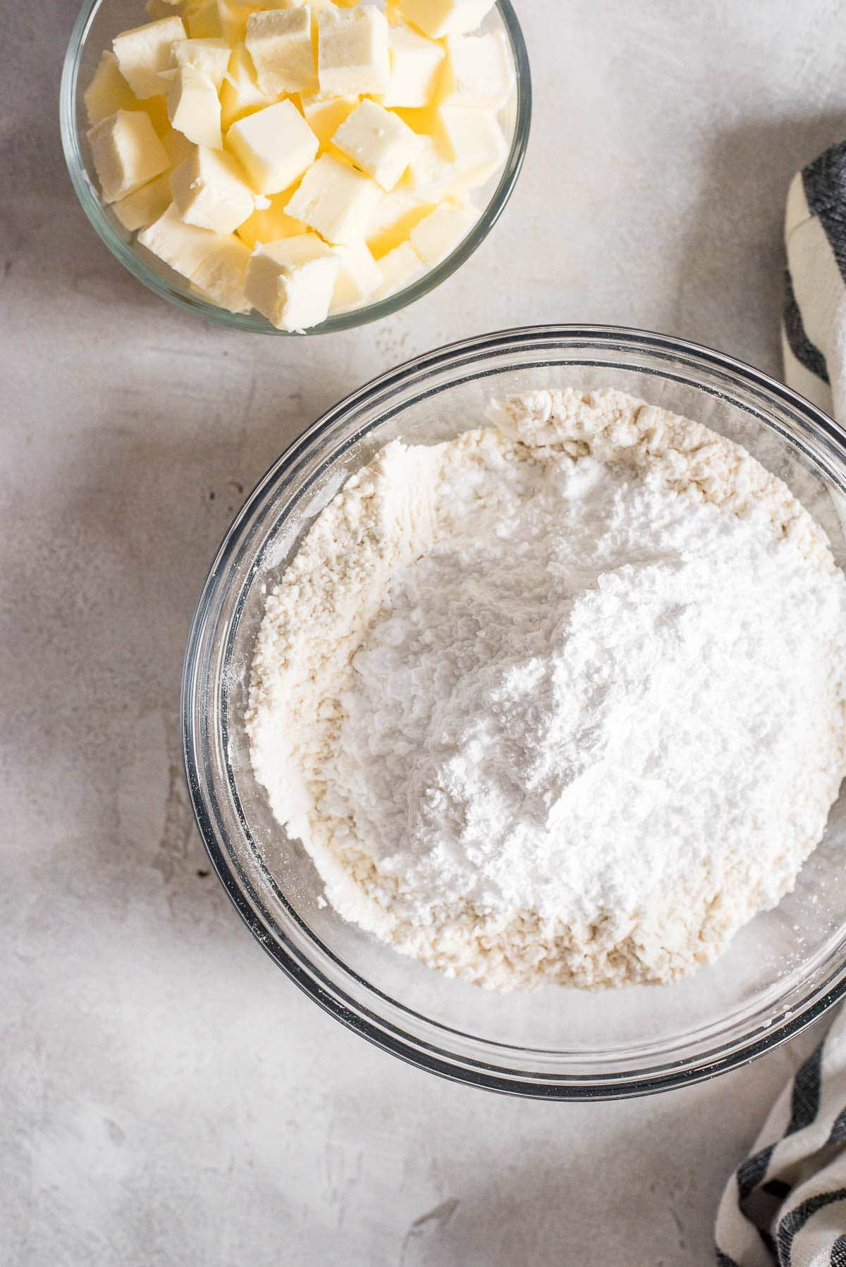 sugar, flour, and salt mixed together in bowl
