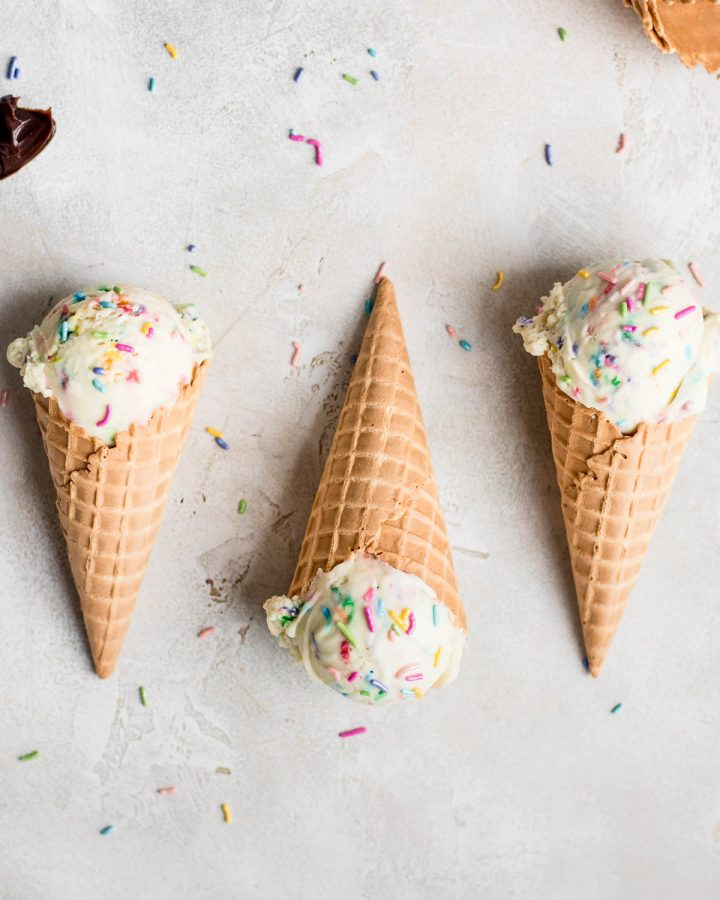 cake batter ice cream in cones