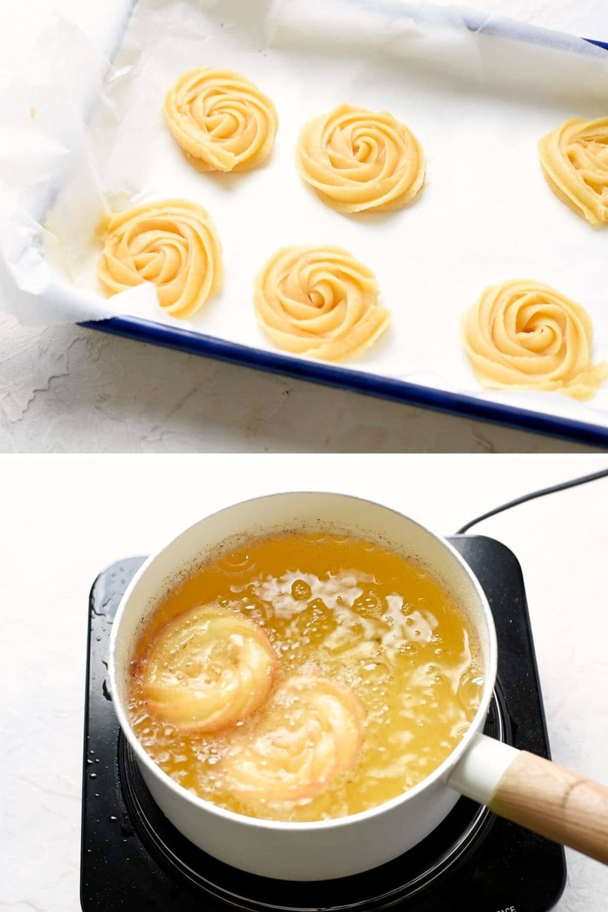 piping churros and frying them