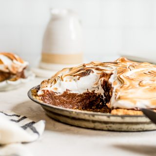 pie in pan with slice missing