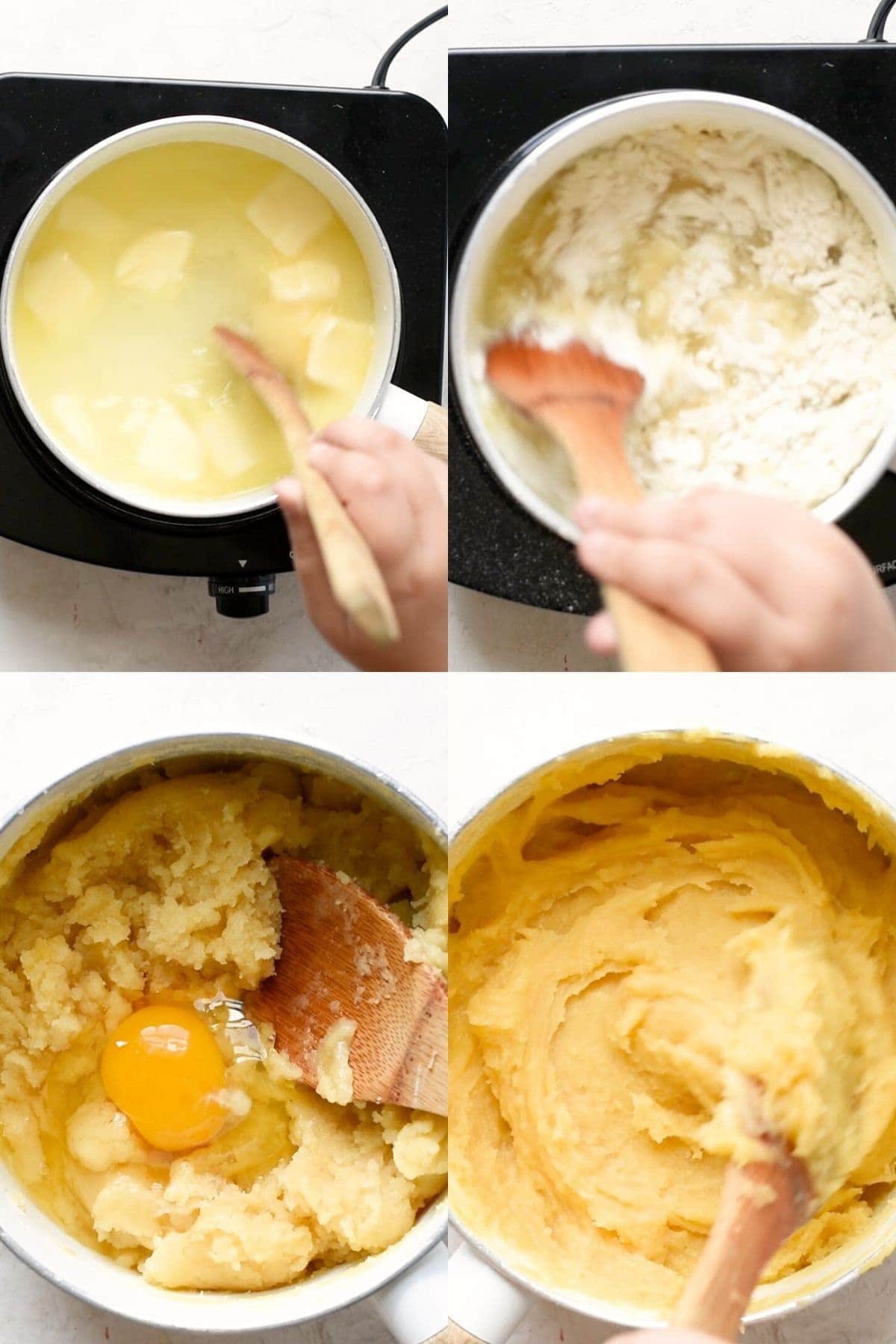 collage of process shots on how to make churo dough