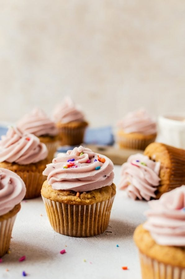 scattered peanut butter and jelly cupcakes