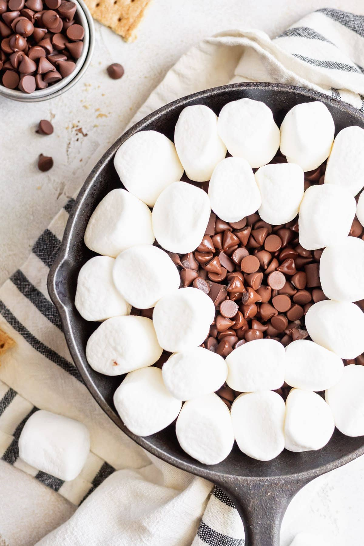 marshmallows covering chocolate chips