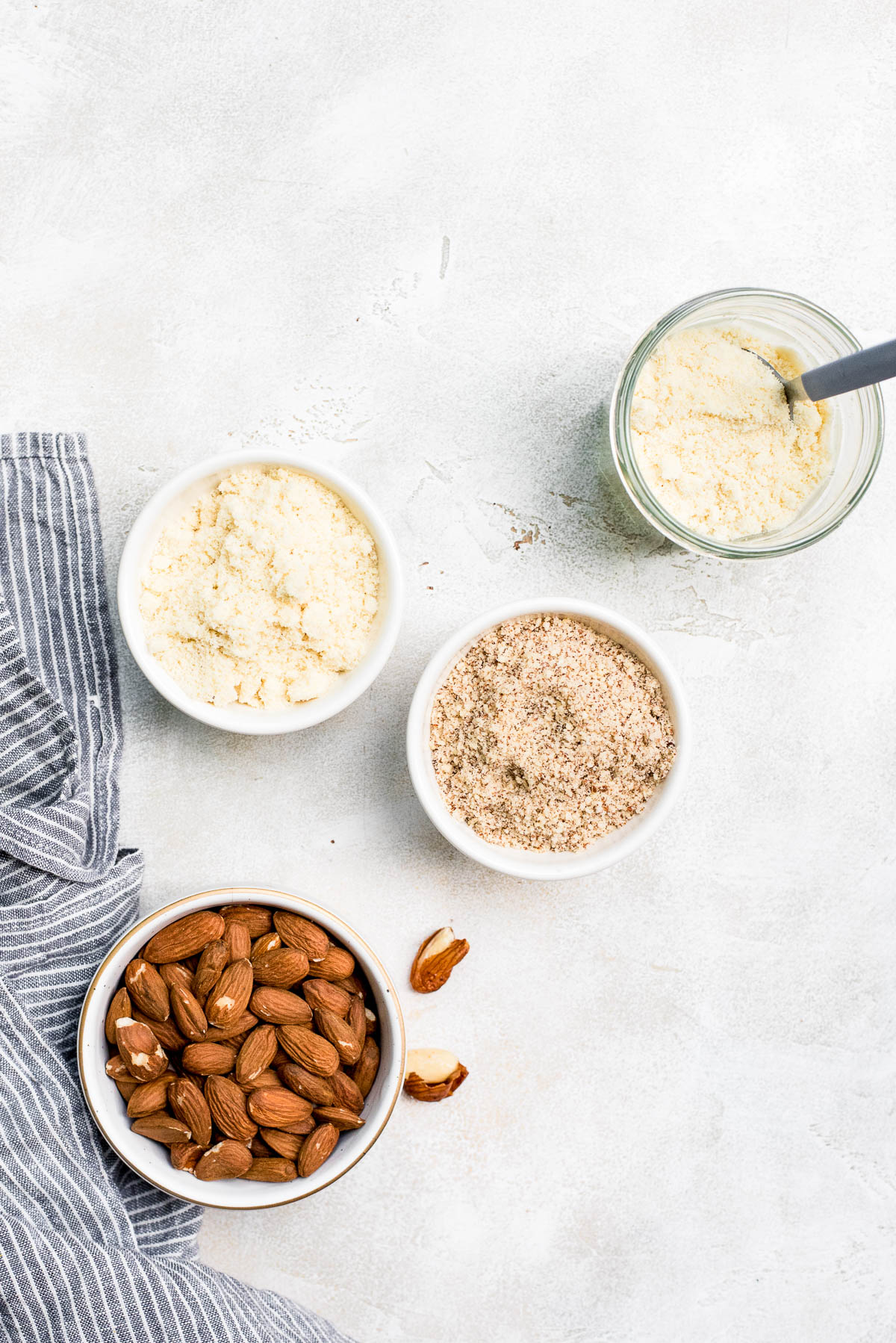 almond flour and almond meal in jars together