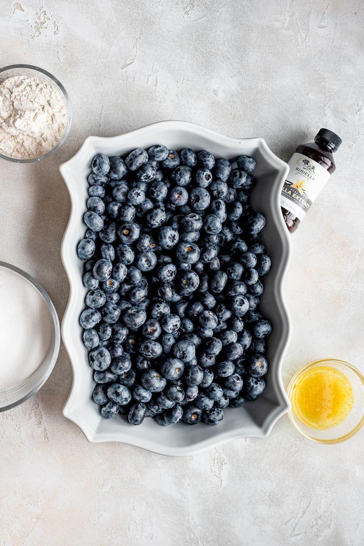 pan full of fresh blueberries
