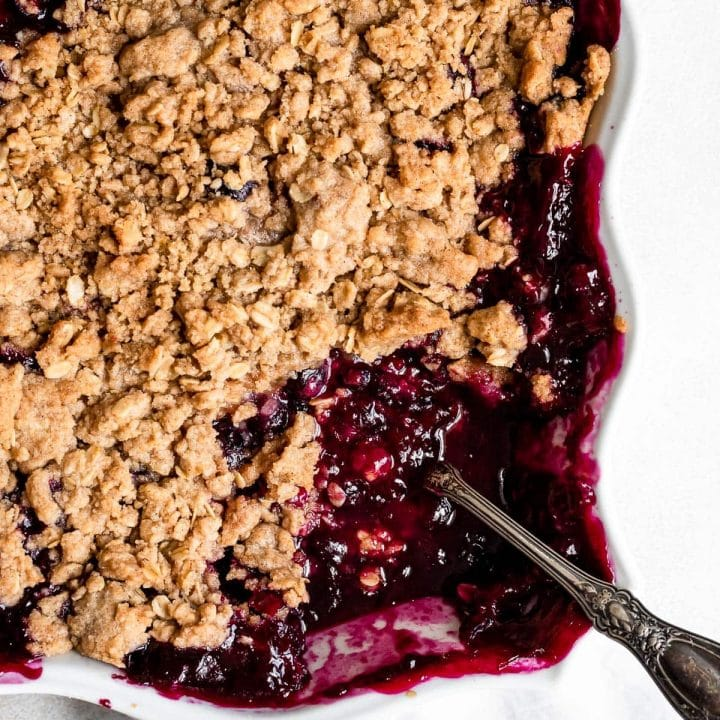 close up inside of pan of blueberry crisp