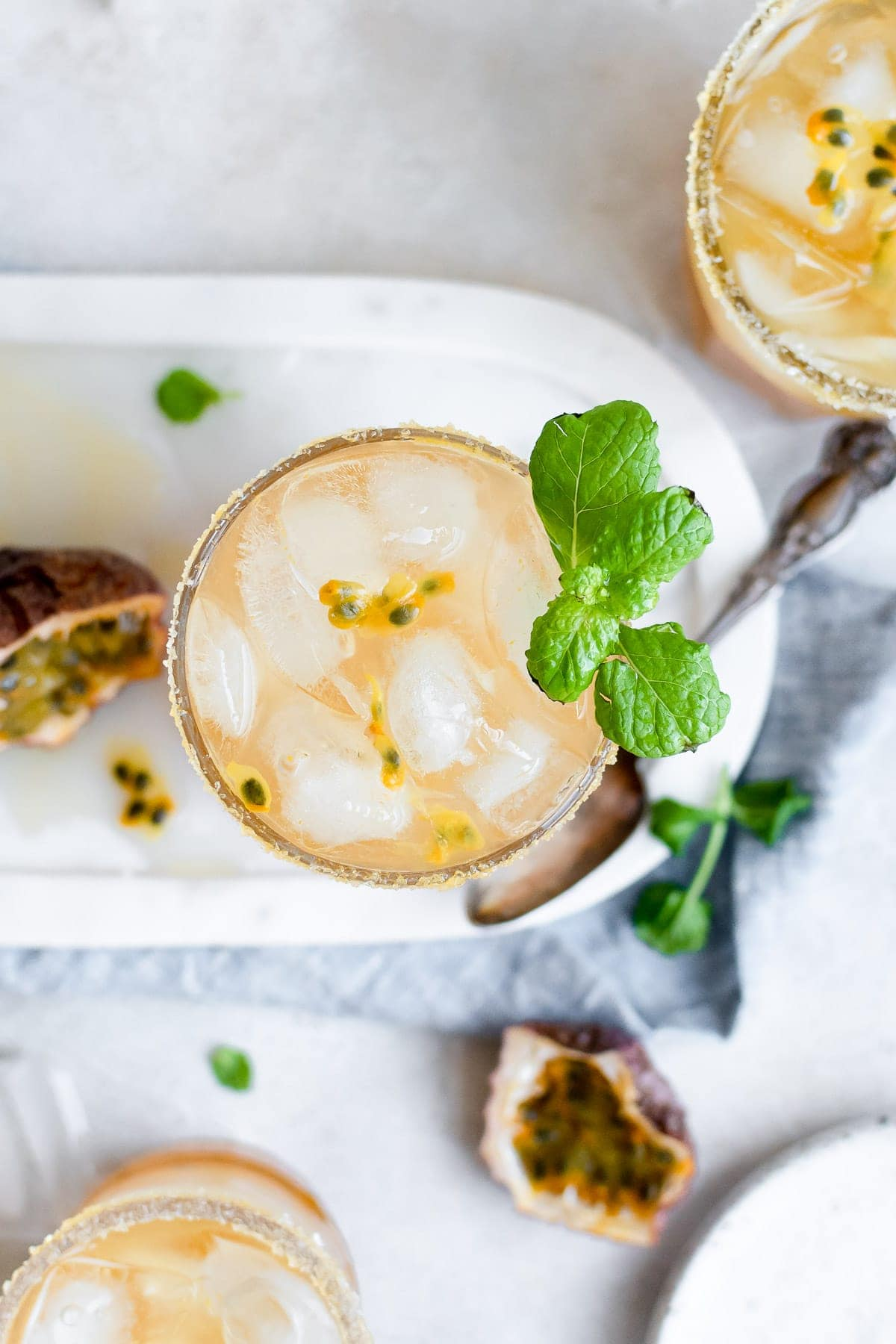 overhead passion fruit margarita in cup