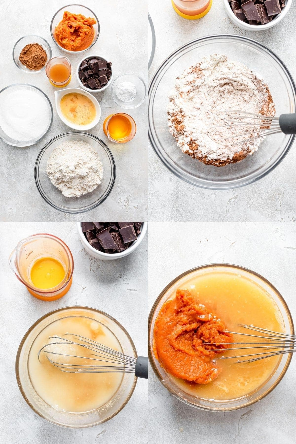 step by step photos on how to make pumpkin chocolate chip muffins