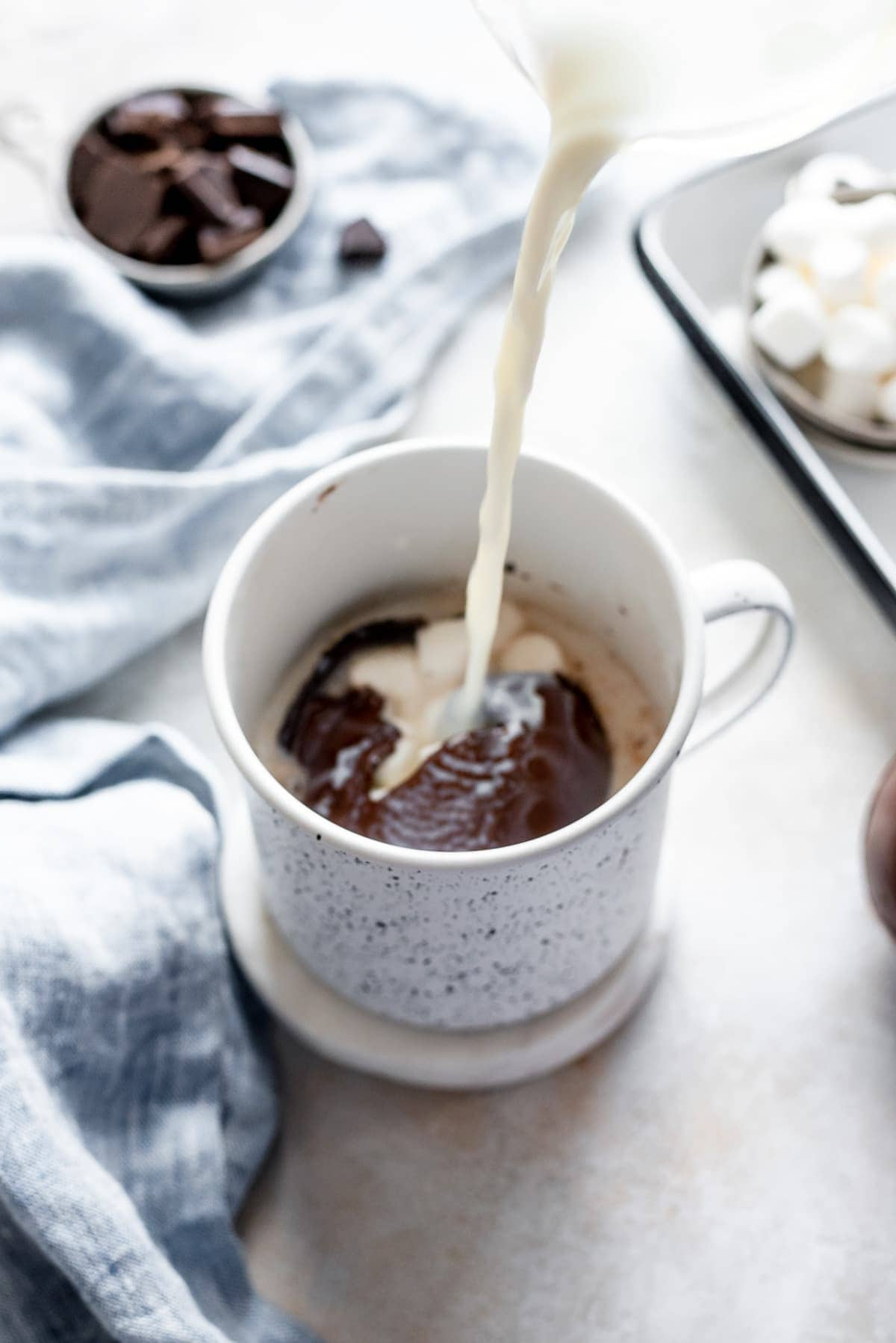 hot milk pouring over chocolate