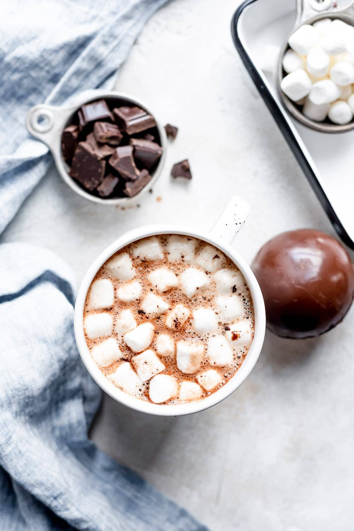 overhead hot chocolate with marshmallows
