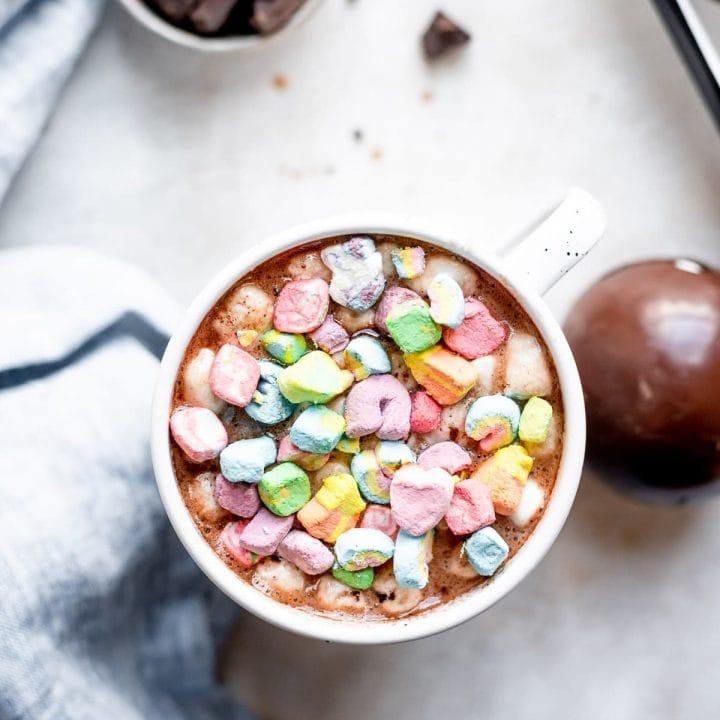 lucky charms marshmallows inside hot chocolate mug
