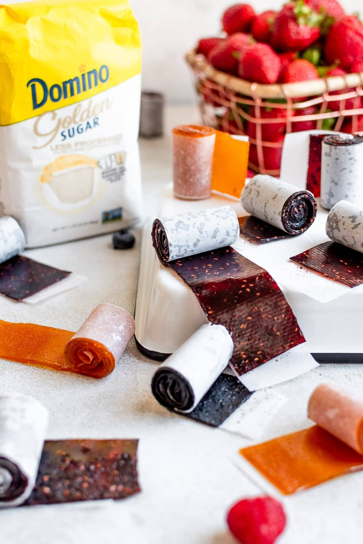 fruit leather on tray and table scattered around