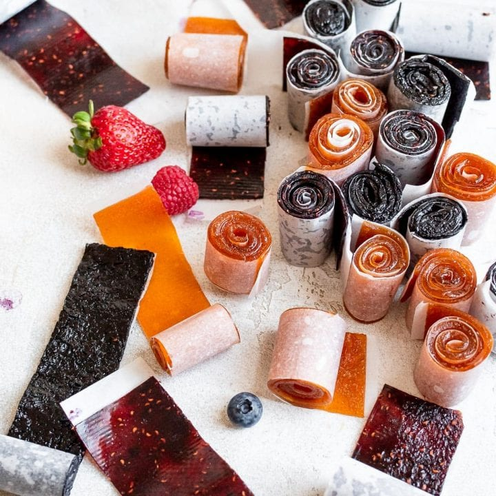 fruit leather scattered on table