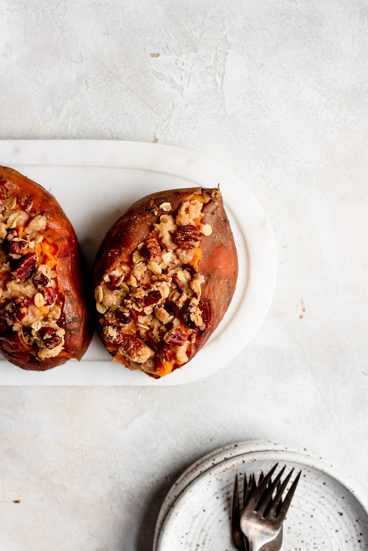 Twice Baked Sweet Potatoes with Streusel