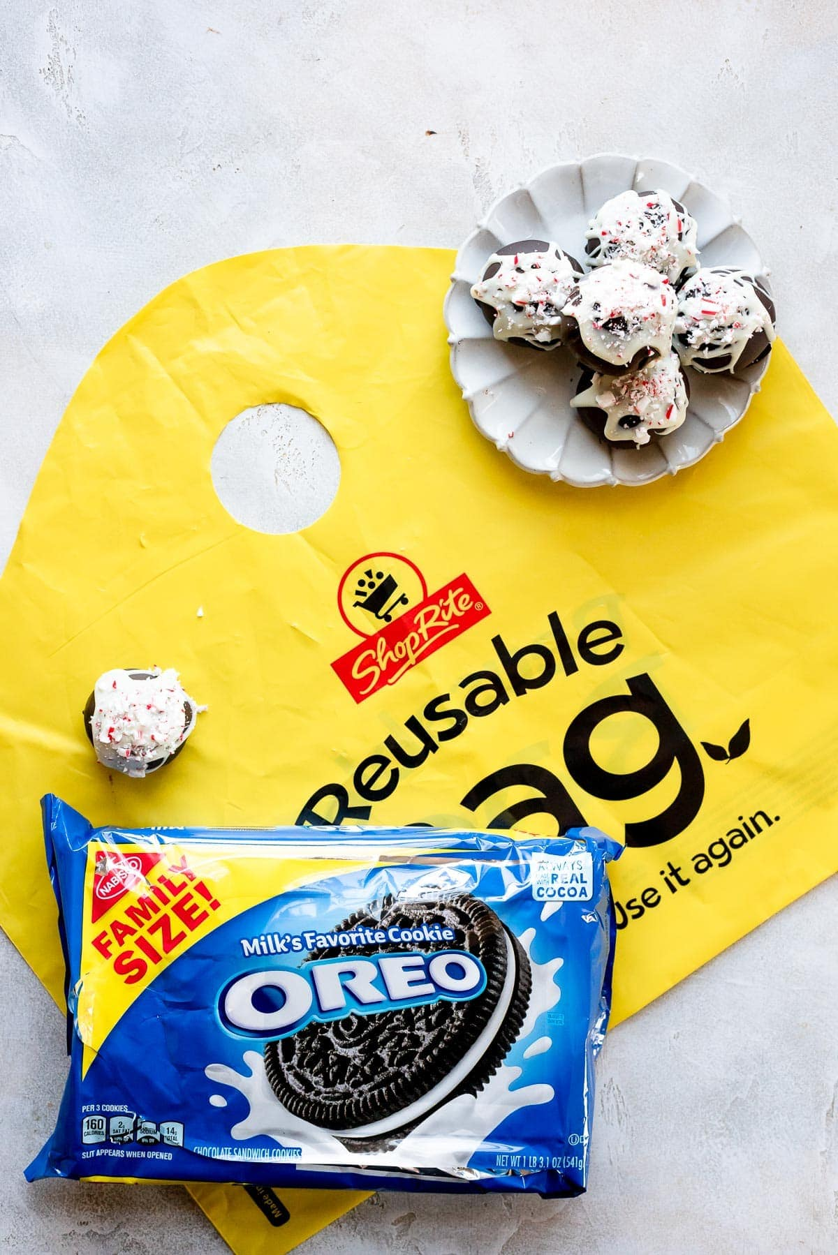 plate of oreo balls on table next to reusable shoprite bag and oreo package