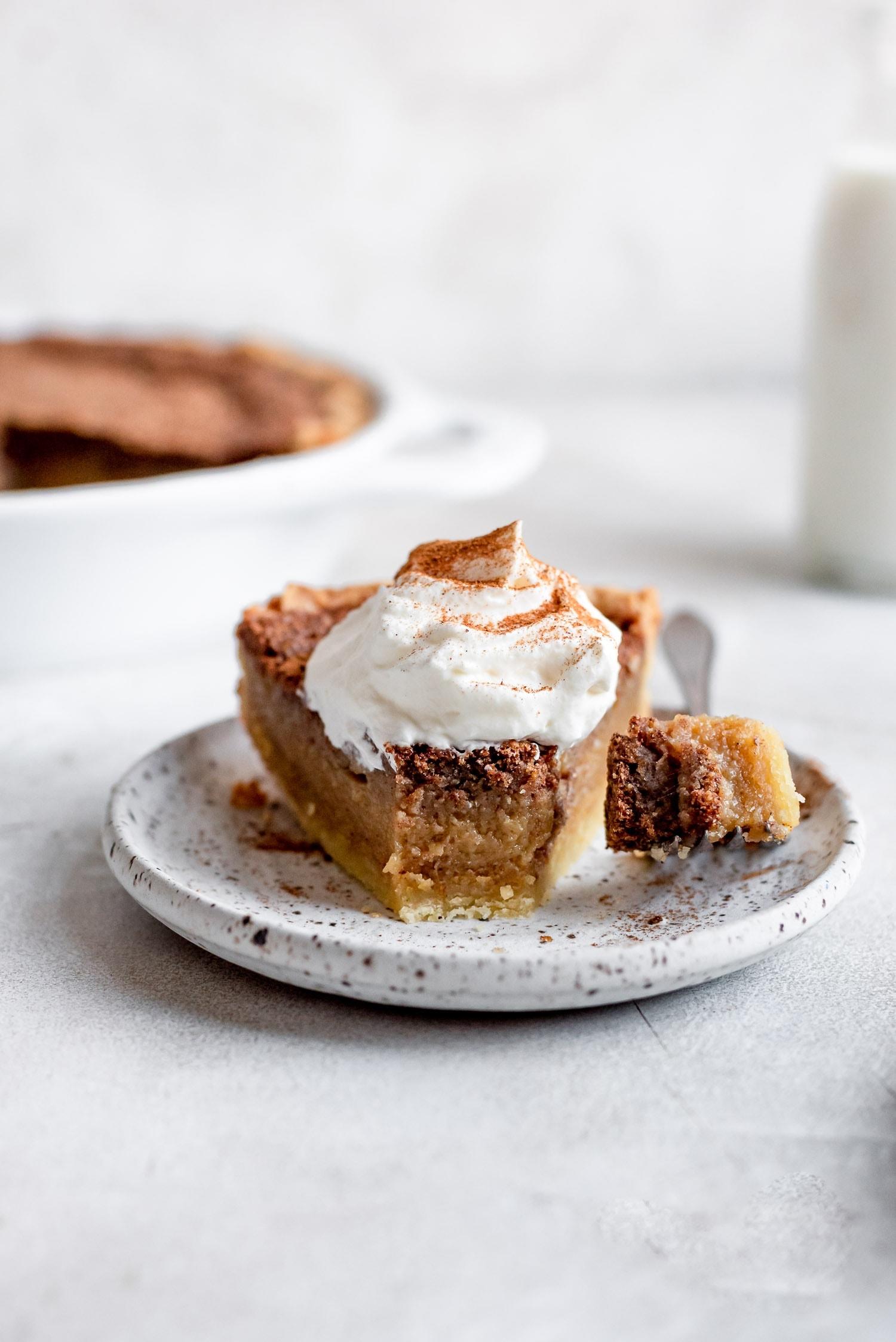 bite missing from slice of pie