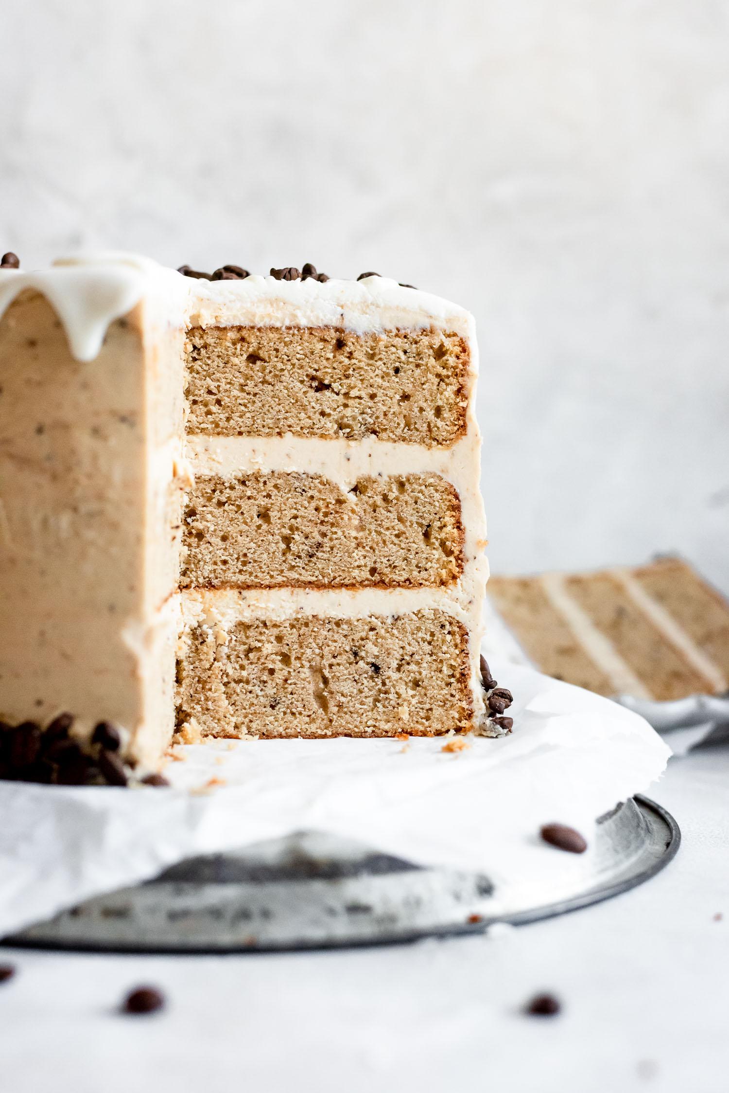 close up showing inside of cake after slicing