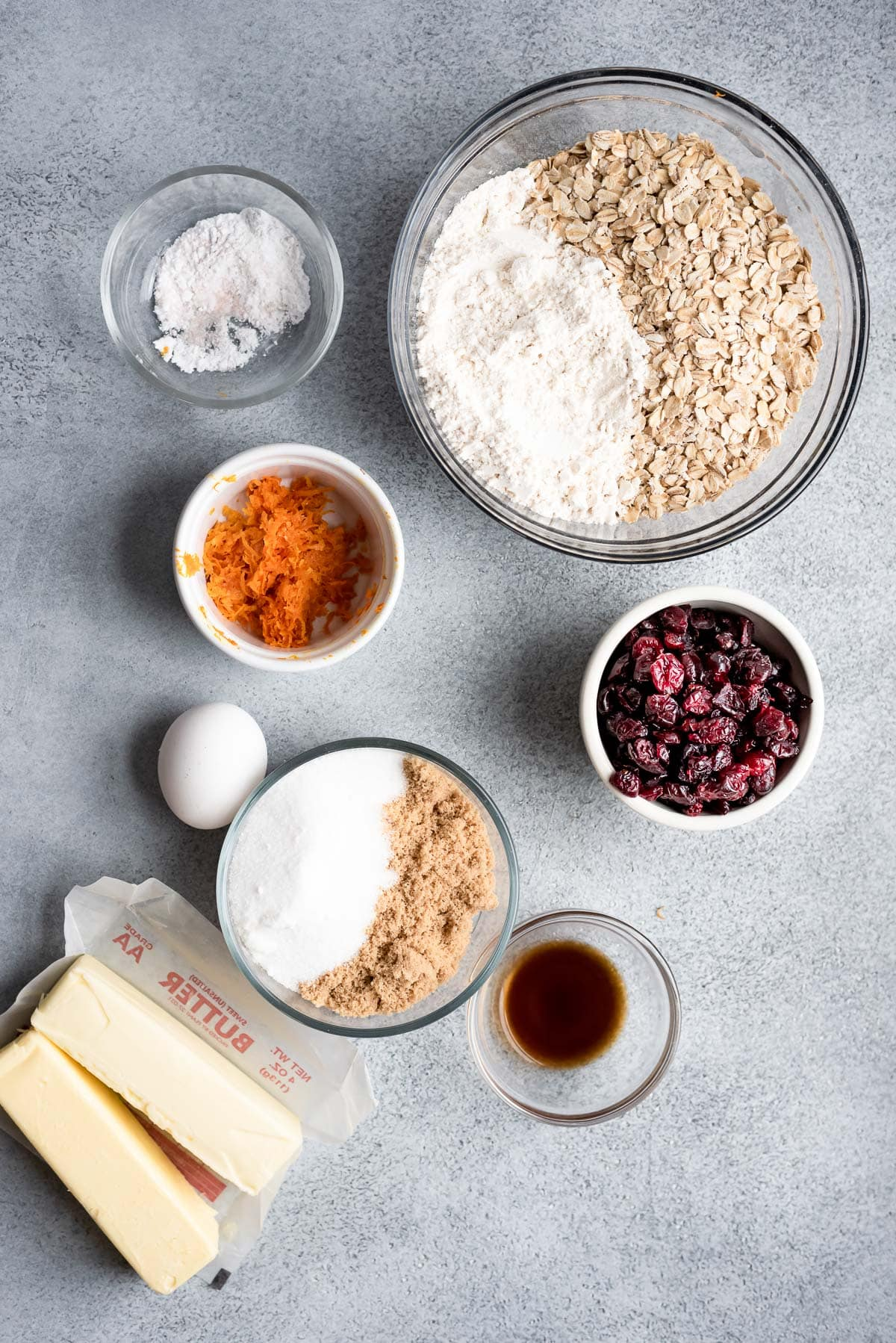 ingredients for cookies in small bowls