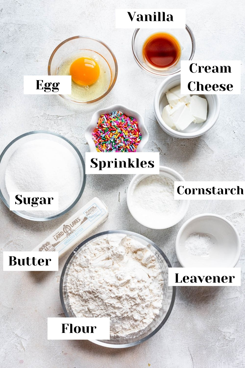 ingredients for sugar cookie bars