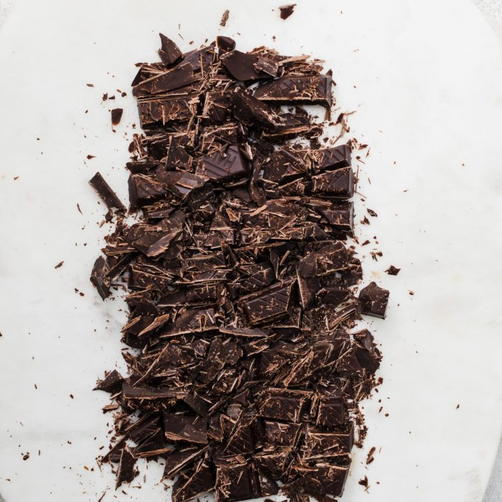 chocolate chopped on board