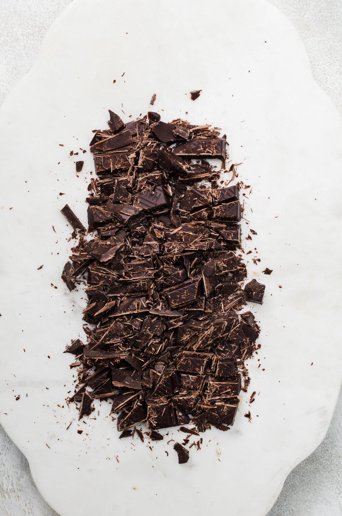 chocolate chopped on board