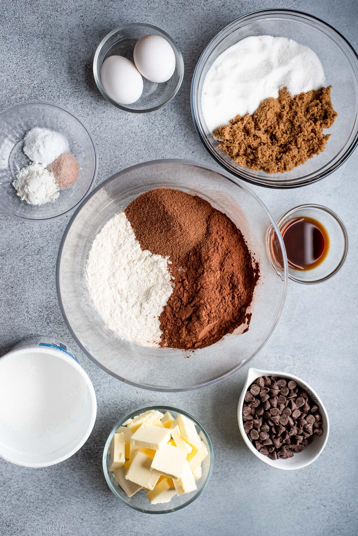 ingredients for hot chocolate cookies in bowls