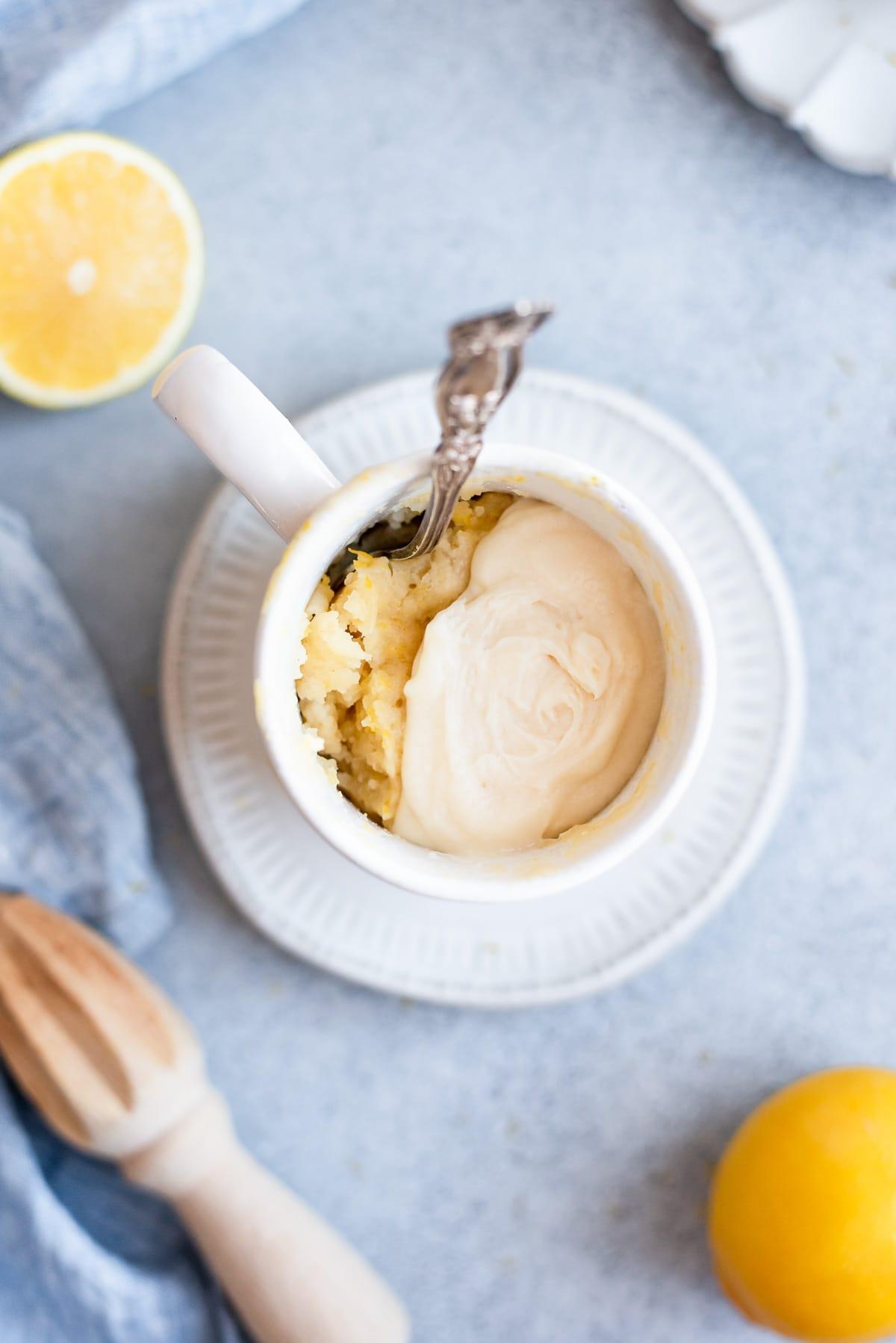overhead of  lemon mug cake